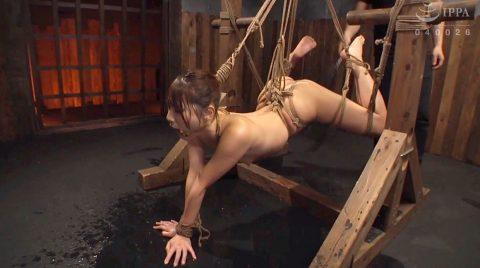 苦痛の表情。苦しい姿勢に縛られて鞭打ち、水責め、SM拷問される女の画像 花咲いあん -SMJP