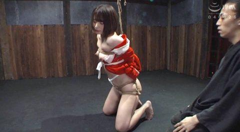 SM緊縛調教画像、服従の膝立ち姿勢で縛られるM女のSM画像 麻里梨夏-SMJP