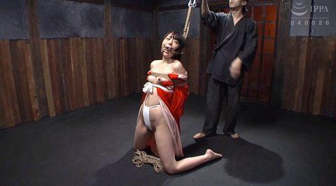 SM緊縛調教画像 膝立ちで縛られるM女の調教画像 七海ゆあ -SMJP