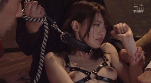 M顔女優、首輪をつけられりーどを引き上げられ辛い表情の女の画像 相沢みなみ-SMJP