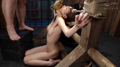 スレンダー女子のSM調教画像、肋骨を浮き出させSM調教に耐えるスレンダー女 涼川絢音