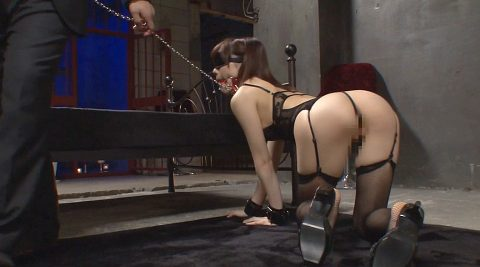 全裸四つん這い画像、首輪と目隠しをされて四つん這いで這わされる女の画像 鈴村あいり