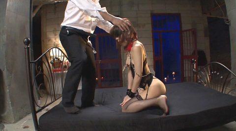 首輪女子 屈辱的な女の画像、首輪をつけられ男の前に跪く哀れな女の画像 鈴村あいり
