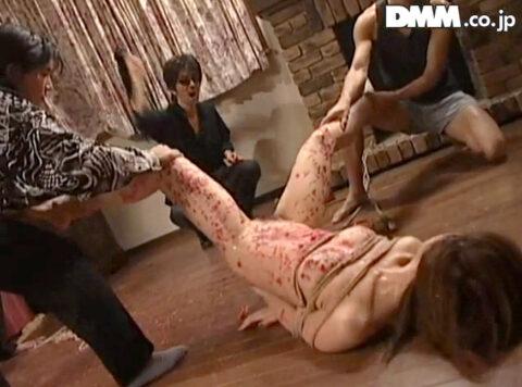 残酷な陰部鞭打ち画像、強制的に強引に股を開かされて陰部を鞭打たれる女の画像 笠木忍