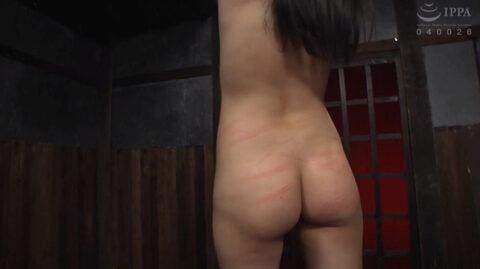 一本鞭責め調教画像、一本鞭で打たれた傷跡が痛々しい女の画像 宮崎あや