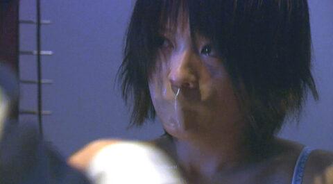 口にガムテープを貼られ儚い表情の 有名女優 北乃きい TVドラマエロシーン/SMJP