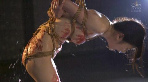 SM鞭打ち調教画像、苦しい姿勢に縛られて 汗だくで ハード鞭打ち調教に耐える女の画像 有坂深雪/SMJP=なおとSM=