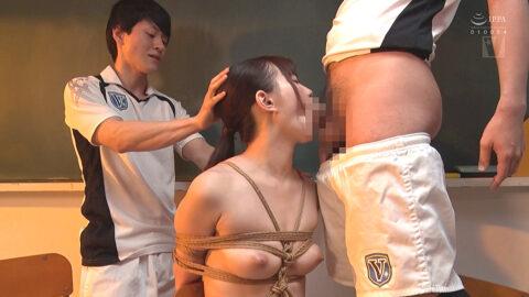 緊縛フェラ画像、麻縄拘束されて仁王立ちフェラを強要される女の画像 美谷朱里/SMJP=なおとSM=